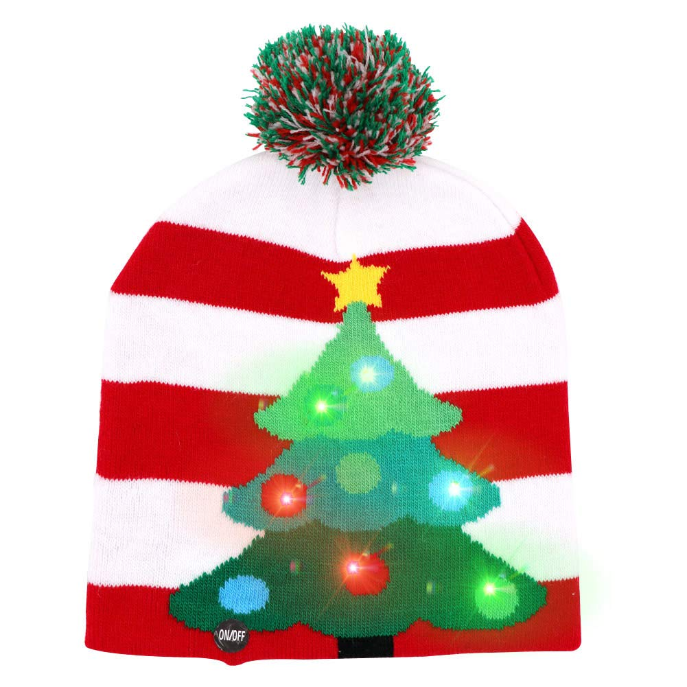 2b9dc0d07 Wmbetter LED Light-up Christmas Hats Xmas Santa Ugly Hat Beanies 10  Colorful Lights Flashing Cap for New Year Party