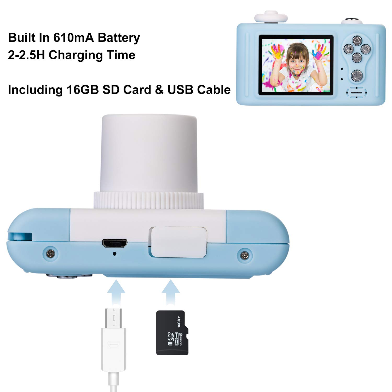 Abdtech Gifts Rabbit Kids Camera, Rechargeable Digital Cameras with Shockproof Soft Cover, Mini Toy Cameras for 5-10 Years Old Girl Boys Including 16GB SD Card, Perfect for Birthday Festival Presents by Abdtech (Image #4)