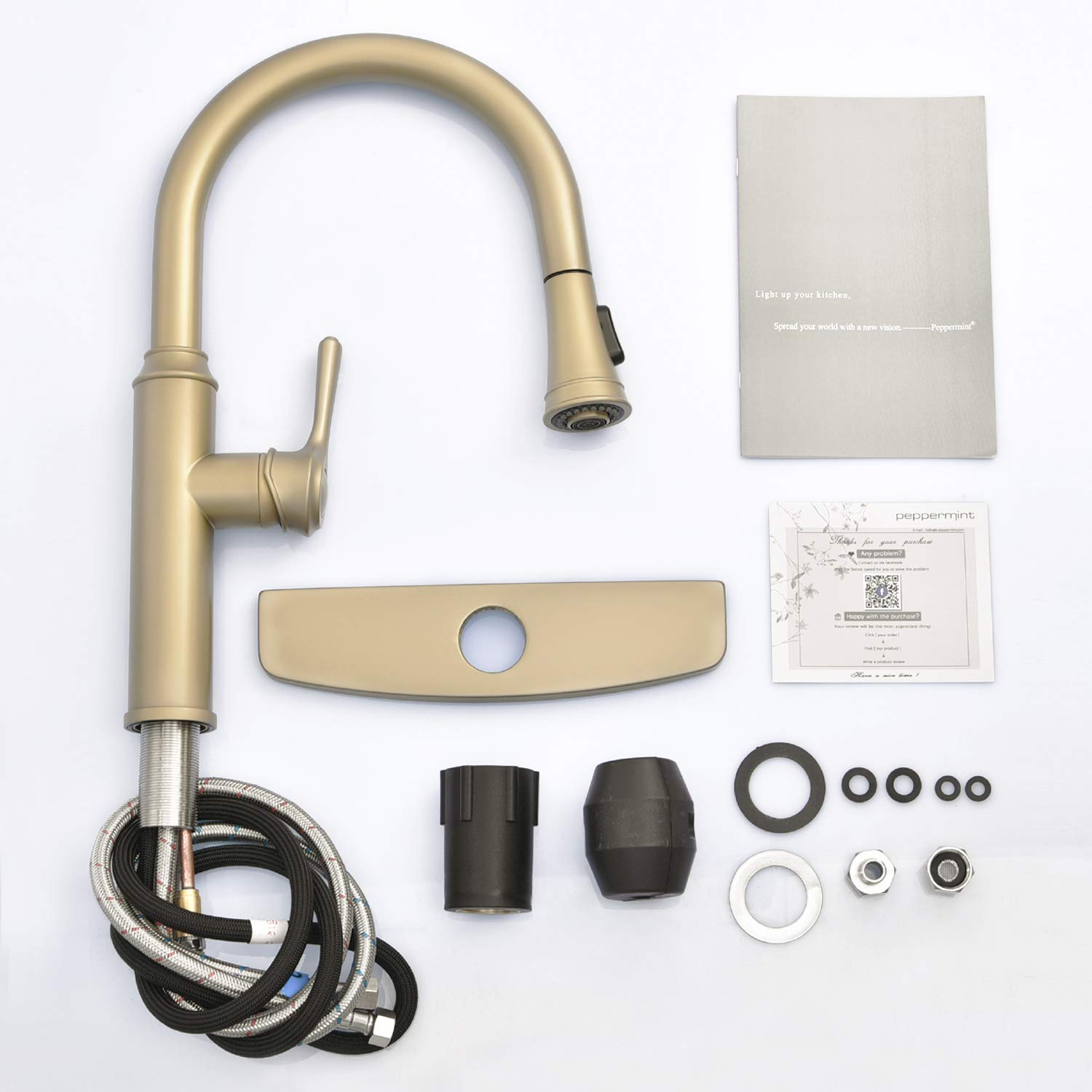 Peppermint Kitchen Sink Faucet Matte Champagne Bronze Single Handle with Pull Down Sprayer Matte Gold by Peppermint (Image #7)