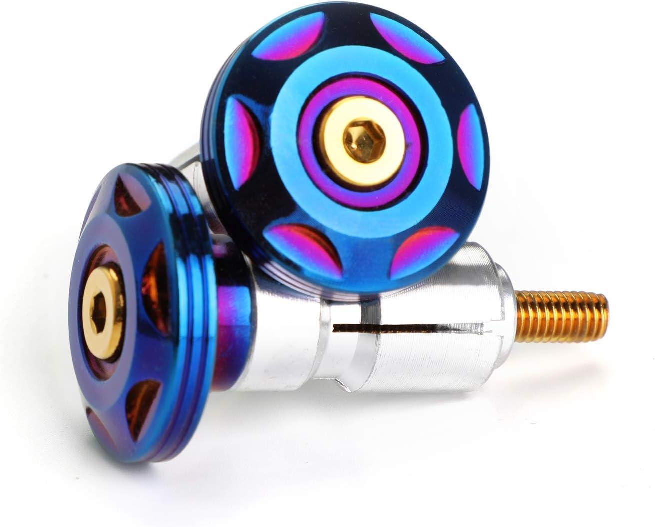 Areyourshop 7//8 22mm Blue-Gold Burnt Titanium Handle Bar Ends Vibration Reducing Grip Plugs