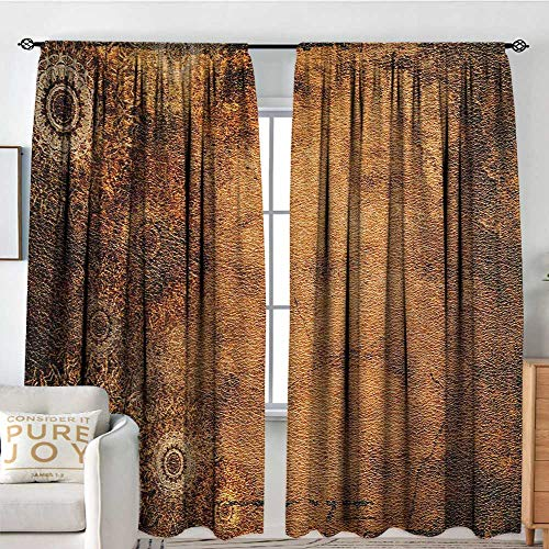 Print Pattern Curtains Tan,Aged Old Texture Print Artistic Floral Motifs Vintage Upholstery Concept,Brown Pale Brown Tan,for Room Darkening Panels for Living Room, Bedroom 54