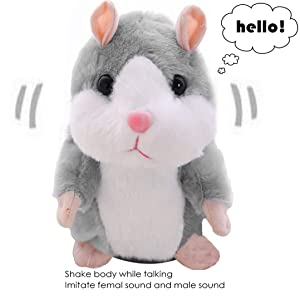 Funny Talking Hamster for Kids Adults, Stuffed Animals Electronic Pets Recordable Interesting Plush Toys Doll Baby Kids Birthday Gift