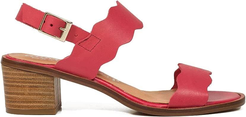 Olas Sandalia de Mujer con tacón bajo ROJA: Amazon.es: Zapatos y ...