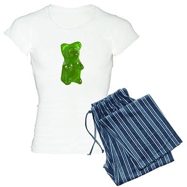 ce5db6772b Amazon.com  CafePress - Green Gummy Bear pajamas - Womens Novelty Cotton Pajama  Set