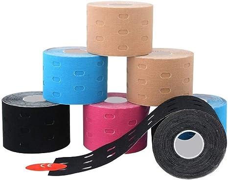 Color : Blue SONGYG Kinesiologia Nastro Perforato Palestra Ginocchio 2 Superficie Perforata Muscoli Sport Adesivo Elastico Tape Kinesiologico