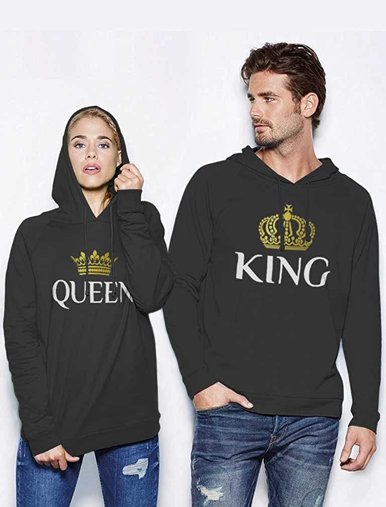 44d27b99d Amazon.com: King & Queen Matching Couple Hoodie Set His & Hers Hoodies:  Clothing