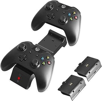 J&TOP - Cargador de Mando para Xbox One, One X, One S, One Elite, (Dual Slot), estación de Carga de Acoplamiento de Alta Velocidad con 2 Paquetes de baterías Recargables: Amazon.es: Electrónica