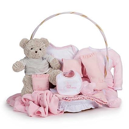 Canastilla regalo bébe Clásica con Oso Teddy BebeDeParis-Rosa- cesta regalo recién nacido