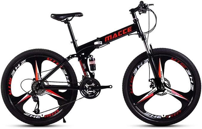 Bove 24 Inch Bicicleta MTB Plegable Bicicleta De Monta/ña Plegable Amortiguadores Doble Disco Frenos Bicicleta De Monta/ña Resistente Y Ligero Bicicleta Urbana Unisex
