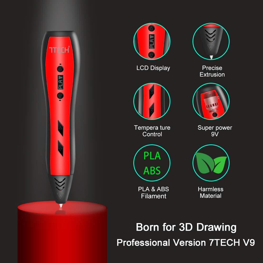 7TECH 3D Pen for Kids Adults Printing Printer Pen with 180 Feet PLA Filament Refills 280 Stencil Ebook