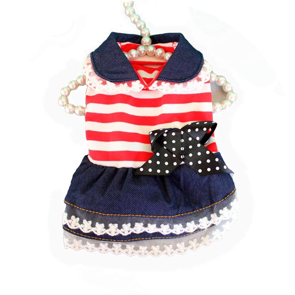HXBLB New Puppy Skirt Princess Teddy Spring and Summer Dog Clothes Pet Clothes Poodle Thin Skirt Cat Clothes (Size : L)
