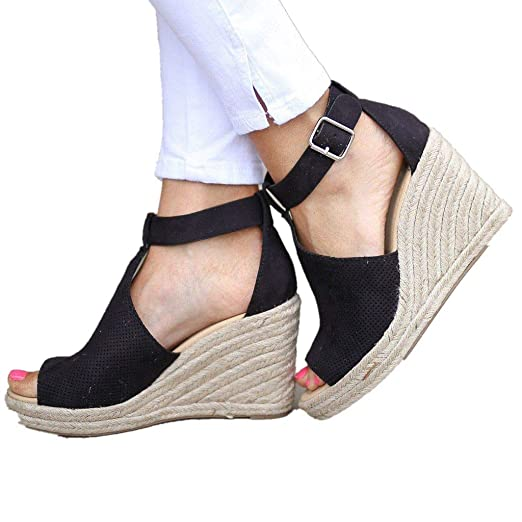 33d14b4db29ee Amazon.com: Women Sandals Summer,Ladies Peep Toe Ankle Strap Buckle ...