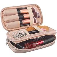 Samtour Makeup Bag Portable Makeup Pouch Makeup Brush Holder 2 Layer Cosmetic Organizer for Travel Women Girls (Rose Gold)