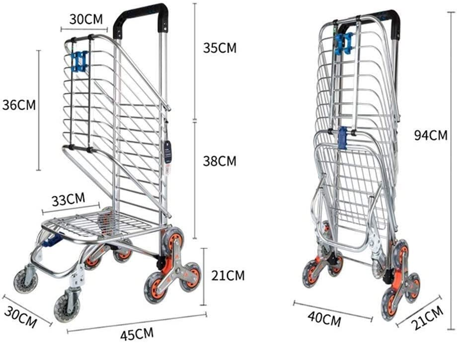 ZBM-ZBM Shopping Cart Shopping Trolley Lightweight Aluminum Alloy 8-Wheel Shopping Cart Stair Mountain Bike Grocery Transport Folding Frame Orange