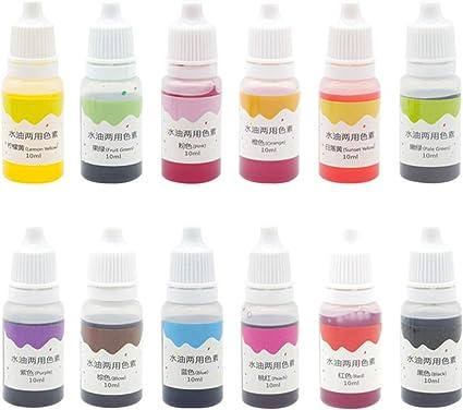 Healifty 12 UNIDS Pigmento de Color Tinte de Maquillaje 10 ml de Aceite de Agua Bricolaje teñido de Color de Doble Uso para jabón Colorear plastilina