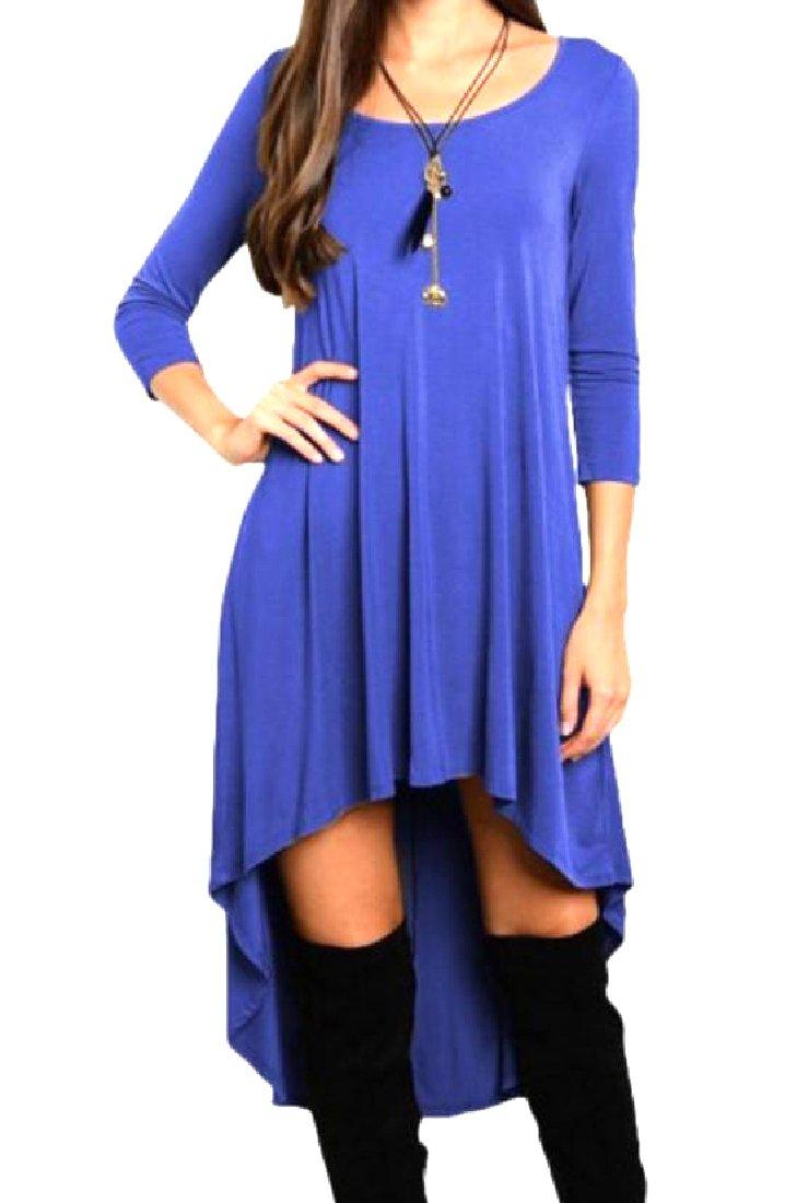 Mfasica Women Slouchy Ruched Asymmetric Round Neck Cocktail Dress Blue M
