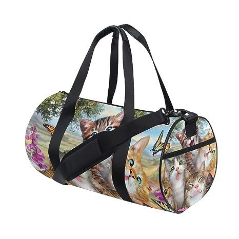 a87d6ed817dc Amazon.com : OuLian Duffel Bag Cute Kitten Butterfly Womens Garment ...