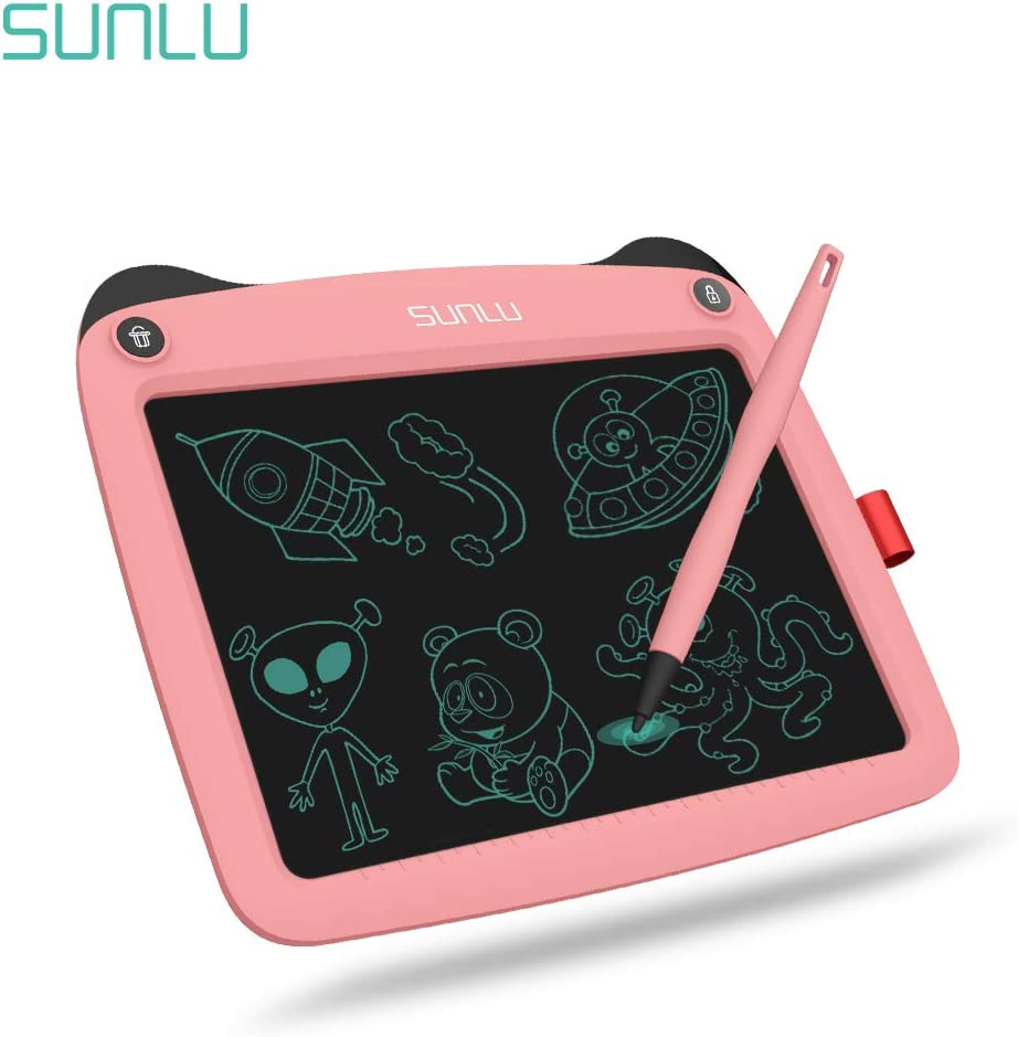 LCD Writing Tablet Doodle Board 9 Electronic Writing /& Drawing Board Handwriting Paper Drawing Tablet Home /& School Use,White Kids Gift for Girls//Boys
