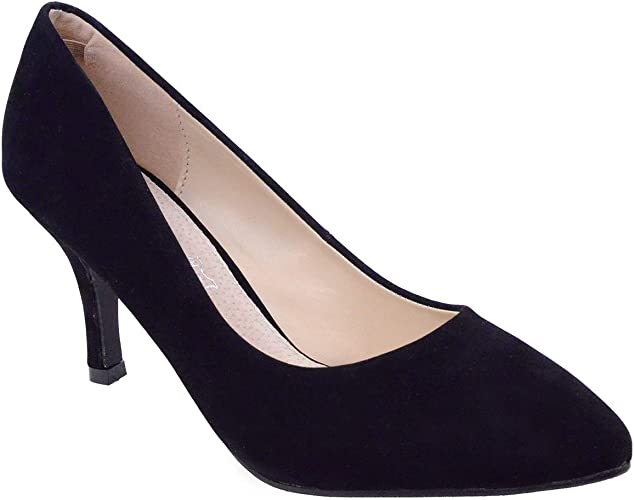 WOMENS LADIES LOW MID HIGH KITTEN HEEL PUMPS POINTED TOE WORK COURT SHOES SIZE