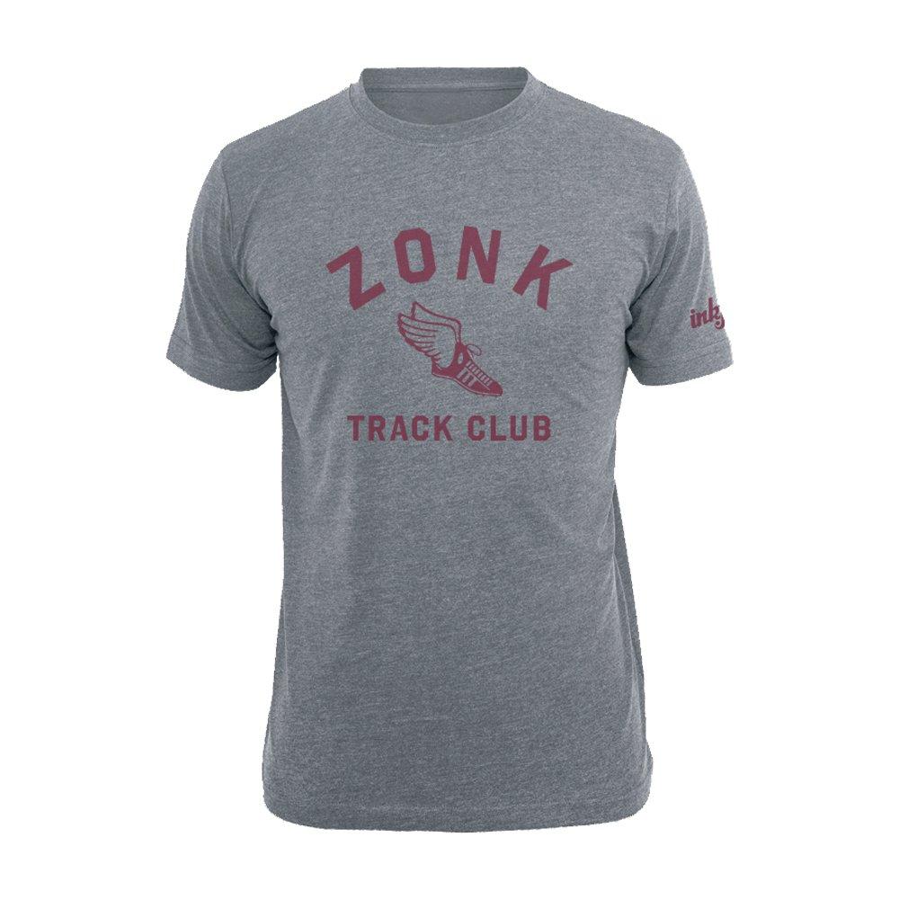 Inkfidel zonk Track Club T-Shirt - Army USMC Marine Veteran Apparel - Athletic Gray Graphic T-Shirt - Tri-Blend (Small)