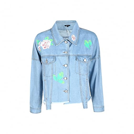 Winter/Spring Denim Jacket Women Fashion Flower Print Short Basic Coats Casual Tassel Loose Outwear