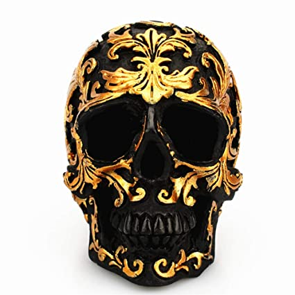 Amazon.com: ZAMTAC Black Skull Head Golden Pattern Resin Craft Carving Decoration Gifts Desktop Skulls Sculpture Home Ornaments Accessories: Home & Kitchen