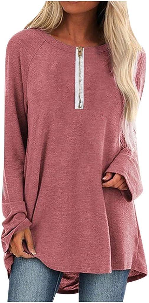 Moilant Women Zipper T-Shirt Plus Size Tops Round Neck Long Sleeved Tees Blouse Tunics