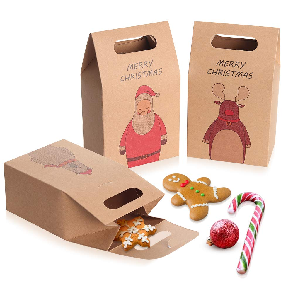 Coogam 12 Pcs Brown Kraft Paper Christmas Cookies and Candy Bags – Santa Claus Reindeer Cute Bear Xmas Gift Box Party Wrap Bag Tapered Tote Present Packaging for Festival Holiday New Year