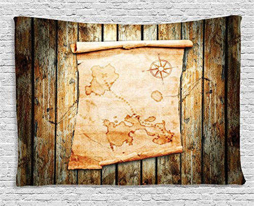 Ambesonne Island Map Tapestry, Treasure Map on Rustic Timber X Marks the Spot of Gold Nautical Pirates Concept, Wall Hanging for Bedroom Living Room Dorm, 80 W X 60 L Inches, Cream Brown Treasure Map Personalized