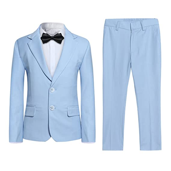 c6bcb45cdb Kids Boys Suits 2 Piece Slim Fit Blue Wedding Page Boy Suit Formal Prom  Party Tuxedo Jacket Trousers 1-15 Years  Amazon.co.uk  Clothing