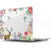 """HRH Clear Glossy Print Design Laptop Body Shell PC Plastic Hard Case Cover for MacBook Air 13.3"""" (A1466 / A1369),Not Compatible 2018 Version A1932 Watercolor Animal 13.3 Inches"""