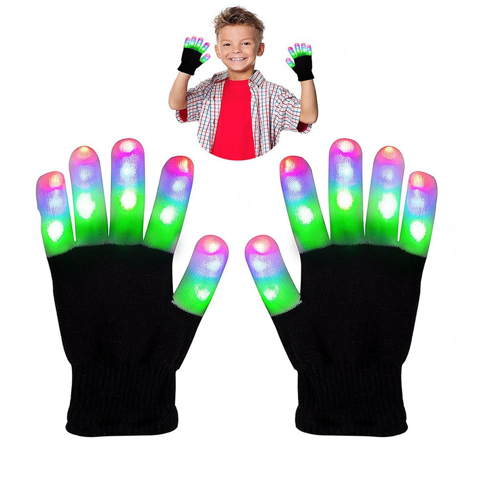 WIKI 3-12 Year Old Boy Toys, Lighting LED Gloves for Teen Girls Gifts for Teen Boys Party Lighting LED Gloves The Best Gloving Gifts for 3-12 Year Old Boys Girls WKUSLV06