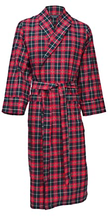 Men\'s Lightweight Brushed Cotton Dressing Gown - Navy, Red & Green ...