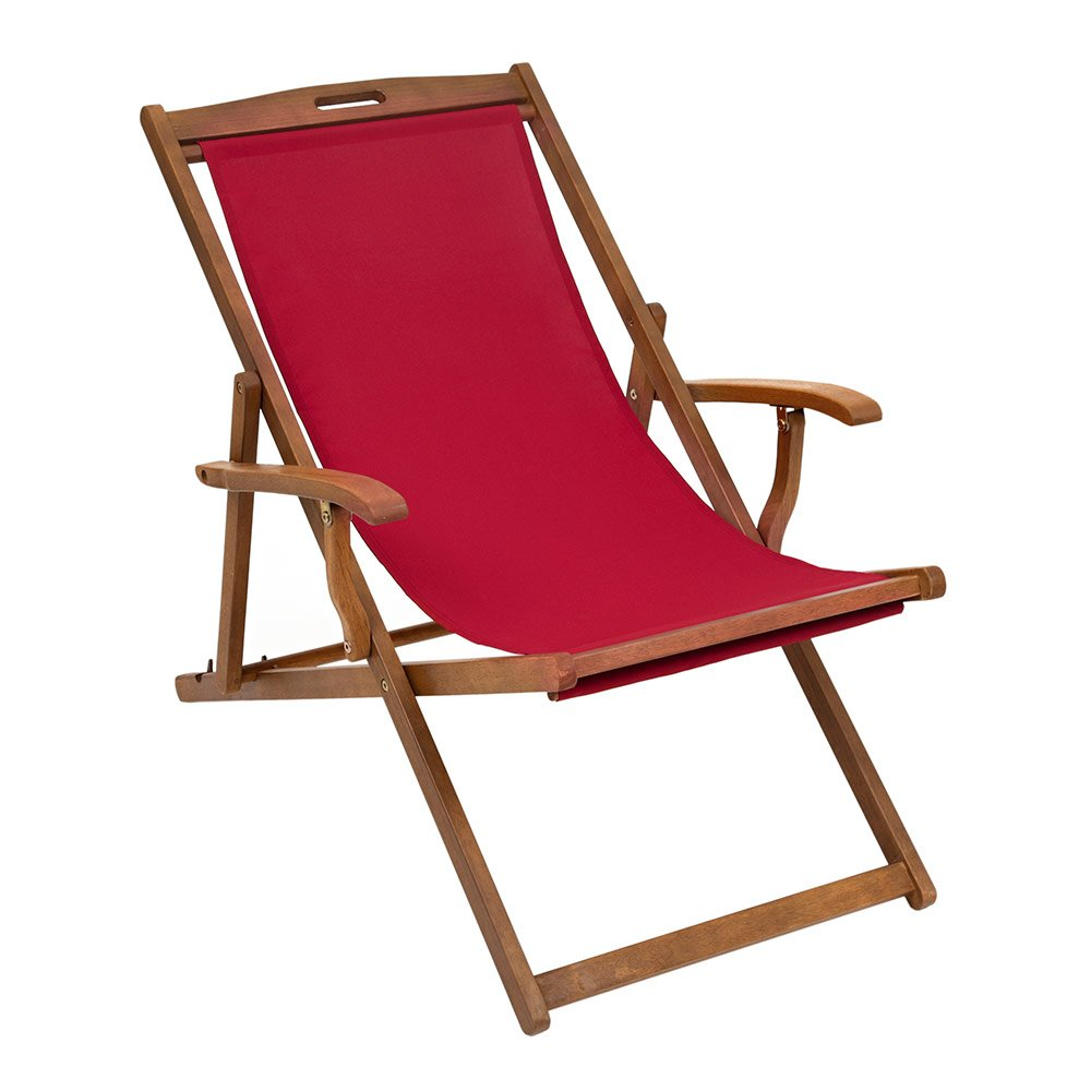Trueshopping Hardwood Frame Folding Rimini Classic Deck Chair with Armrests - Blue Fabric Slip