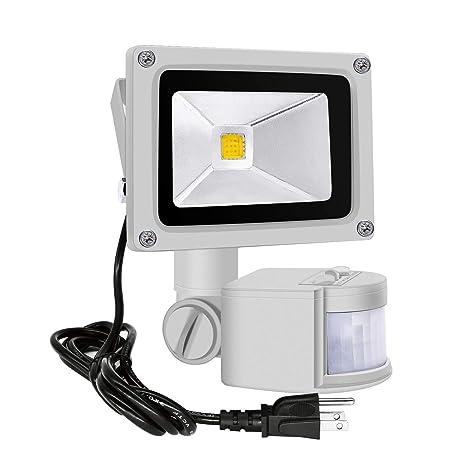 Motion Sensor Flood Lights Outdoor,10W Induction LED Lamp, IP65 Waterproof Spotlight,3200K LED Sensor Light,Security Light with US 3-Plug (Warm ...