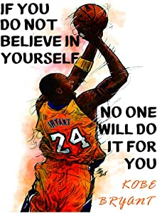 """Kobe Bryant 16"""" x 24"""" Wall Art Prints,Inspirational Art Poster Picture,Basketball Canvas Painting for boy's room Bedroom Home Decor.(Unframed)"""