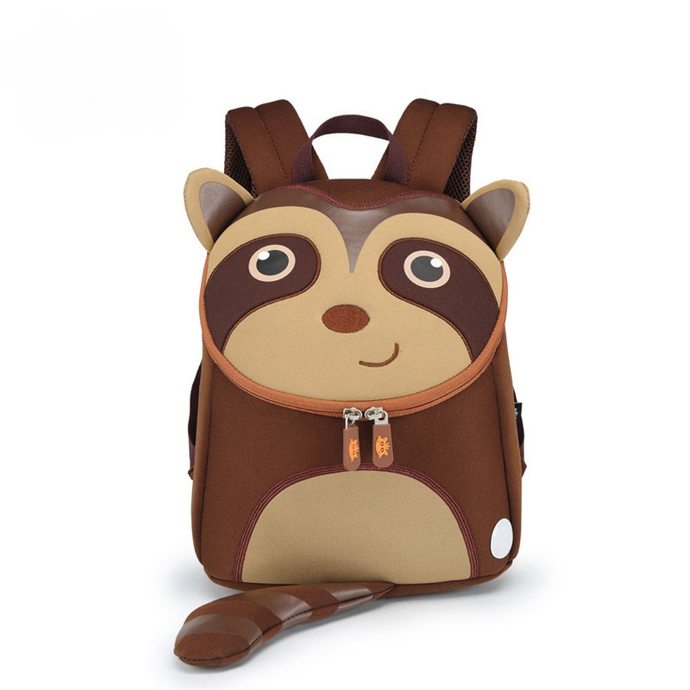 Koneep Sacs à dos pour enfants Maternelle Bambin Garderie Sac à dos mignon Cadeau 3D Animal Imperméable (Raccoon)
