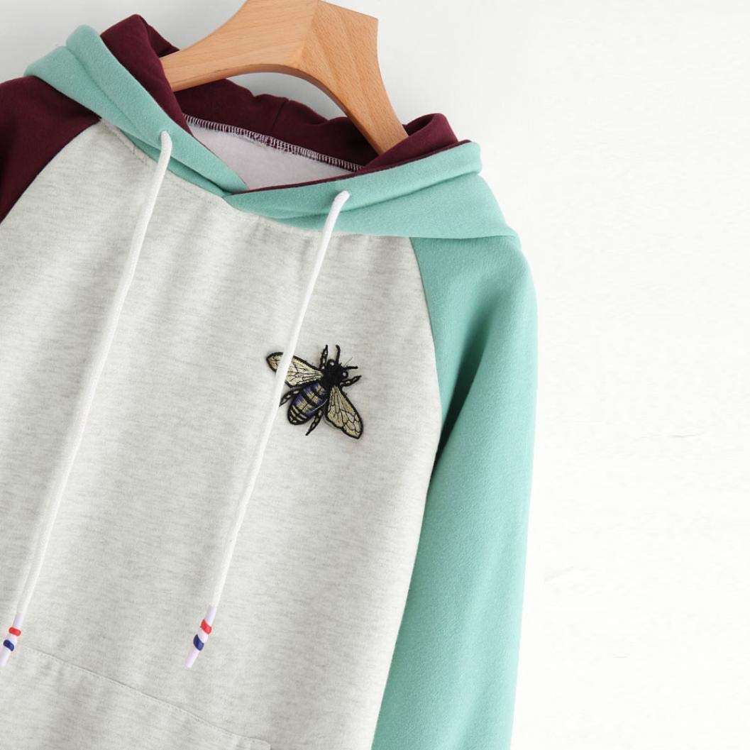Amazon.com: Women Long Sleeve Patchwork Hoodies Sweatshirt Pocket Bee O Neck Drawstring Jumper Tops Blouse: Sports & Outdoors