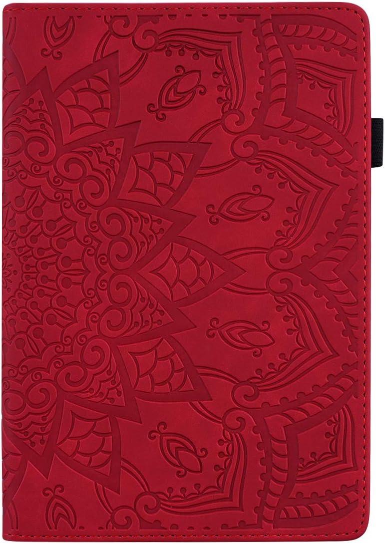 Jajacase Funda Folio Samsung Galaxy Tab A 10.1 2016 SM-T580/T585-Slim Carcasa Cuero PU Silicona y Multiángulo y Soporte Case Cover Protector-Rojo