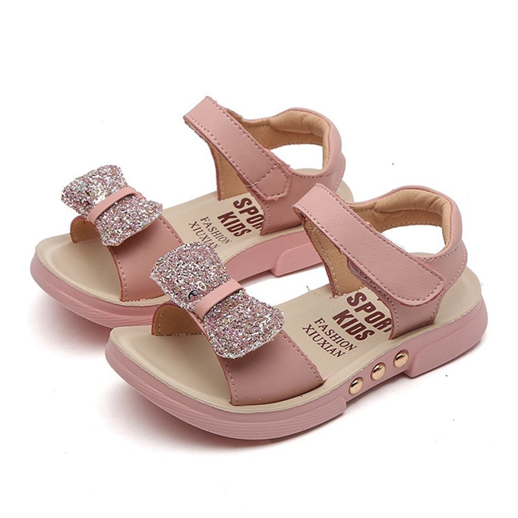 CYBLING Open Toe Sandals for Girls Glitter Bow Leather Strap Kids Flat Shoes (Toddler/Little Kid/Big Kid)