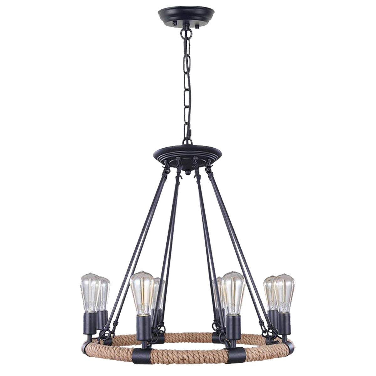 Lightingpro vintage 8 light hemp rope chandeliers rustic kitchen pendant lighting matte black finish