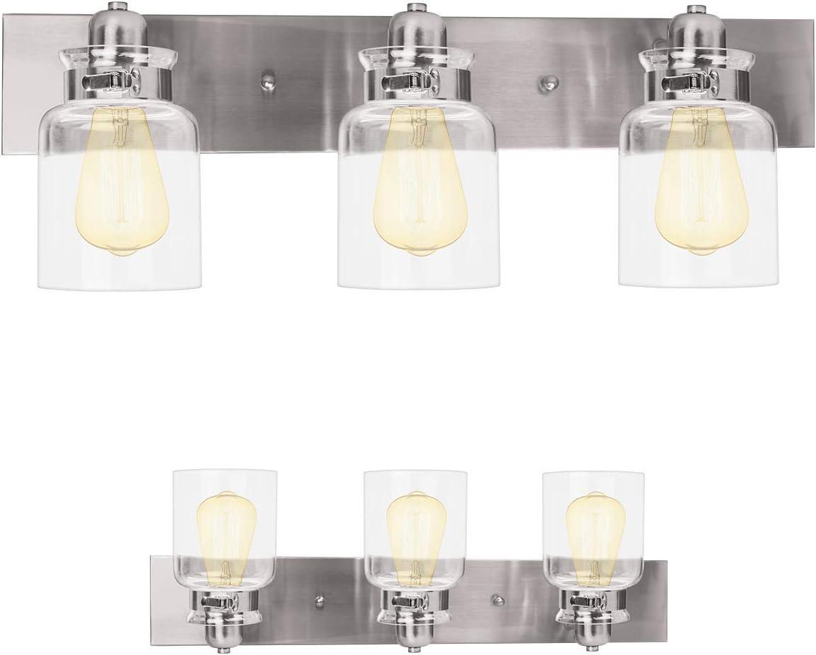Nuk3y Vintage Farmhouse Bathroom Vanity Light Fixture (Brushed Nickel, 3 Light)