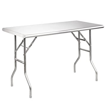 Royal Gourmet Stainless Steel Folding Work Table, 48u0026quot; ...