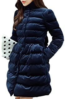 ONTBYB Womens Winter Print Long Sleeve Faux Fur Collar Hooded Puffer Down Jacket