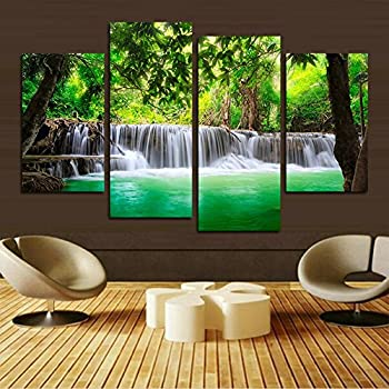 HCOZY 4 Unit Green Waterfall HD Pictures Of Modern Art Print Canvas Painting The Living Room Wall Decoration No Frame Far73 48x28 Inch