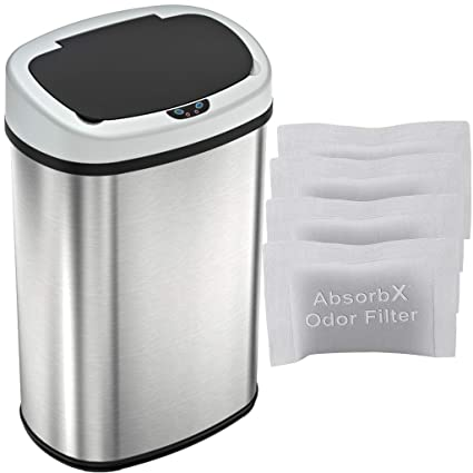 Itouchless Automatic Oval Trash Can With 4 Odor Filters Big Lid Opening Touchless Sensor Kitchen Trash Bin 13 Gallon Stainless Steel