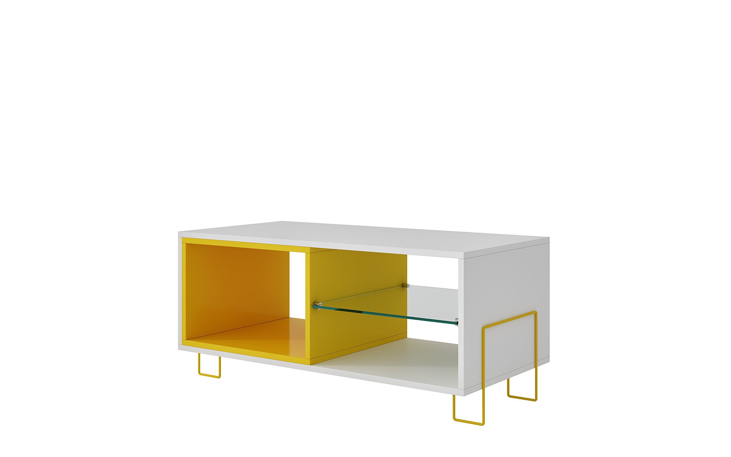 """Manhattan Comfort Boden Collection Contemporary TV Stand With Tempered Glass Shelf, Cubby and Shelf, White/Yellow - The Boden Collection Introduces a Beautifully Crafted Glass Top TV Stand With Fantastic Dimensions of 35.43"""" x 15.91"""" x 17.52"""" and Weighs only 44.09 lbs., Making it Easy to Place and Use Within Your Home. This TV Stand Has Been Designed to Comfortably Hold a TV of Up to 32"""". You Cannot Go Wrong With a TV Stand Like This, The Color is Complimentary and the Dimensions are Ideal For Setting Up Anywhere in Your Home Reliable Craftsmanship: Crafted From Quality MDF, This TV Stand Has Been Built to Last. Designed With a Tempered Glass Shelf and Metal Base Legs, it is Without a Doubt That This TV Stand Has Been Created to be Durable and Long Lasting For Several Years to Come. Compliment Your Home With the Attractive Appeal of Two Open Shelves and a Cubby Space That Has Room For All Your Entertainment Needs Contemporary Design: This TV Stand Has a Unique Design With a Creative Touch. Crafted and Designed From The Finest Craftsmen at Manhattan Comfort, it is Without a Doubt That This TV Stand is Absolutely Perfect. Designed With Tempered Glass, There is an Attractive Appeal About the Way That This TV Stand Has Been Designed. The Color Tones Accent Any Room While Providing All That You Have Been Missing. You Cannot Go Wrong With This Addition to Your Home, So What Are You Waiting For? - tv-stands, living-room-furniture, living-room - 61NSK93UMdL -"""
