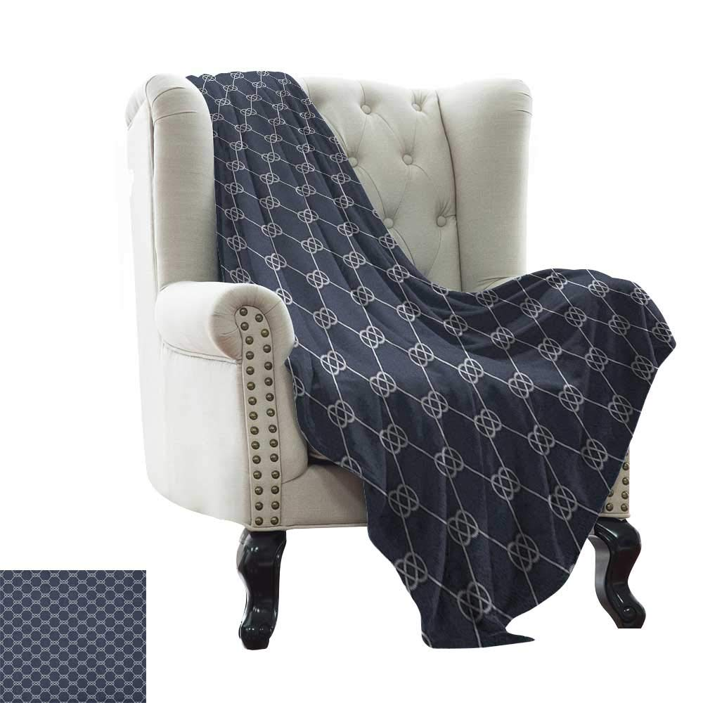 color14 60 x78  Inch Chunky Knit Blanket Navy and Teal,Classical Argyle Diamond Line Pattern Vintage Traditional colorful Retro, Multicolor Weighted for Adults Kids, Better Deeper Sleep 50 x60