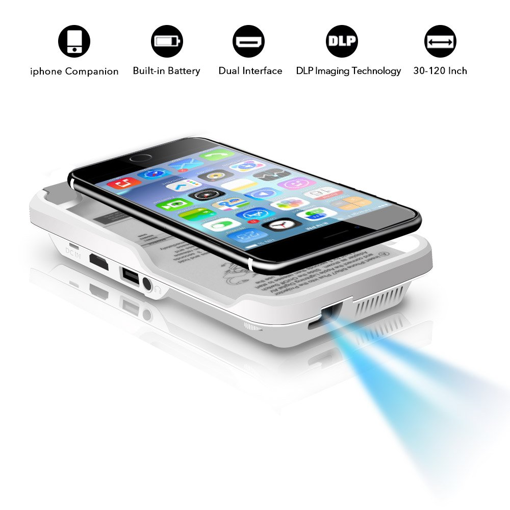 Mini Portable Projector for iPhone- Mobile Cinema Home Theater DLP Projector,Support 1080P HDMI USB TF Card