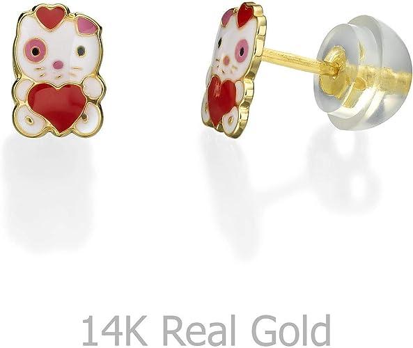 Baby//Children/'s Stylish 14K YG ScrewBack Butterfly Earrings Enamel White Red